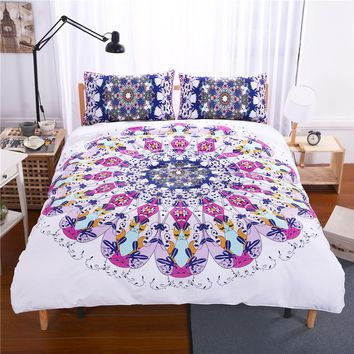 Bohemia style white purple US twin full queen king pillowcase duvet cover set bedding set
