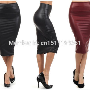 plus size high-waist faux leather pencil skirt black leather skirt S/M/L/XL