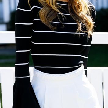 Black Stripe Flare Sleeve T-shirt