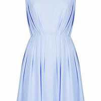 Poppy Pleated Mini Dress - Sky Blue