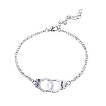 Vintage Stylish Handcuff Shape Bracelet Anklet for Women Men Couples Lock Festival Gift Jewelry Decoration