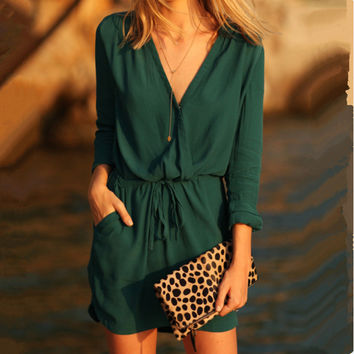 Fashion V-neck Long Sleeves Patchwork A-line Short Dress