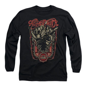 Aerosmith Men's  Let Rock Rule  Long Sleeve Black Rockabilia