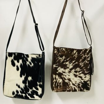 cow fur cross body sachel