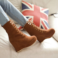 Korean wedges lace up short boots