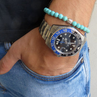 Men's Bracelet - Men's Turquoise Bracelet - Men's Gemstone Bracelet - Mens Jewelry - Men's Beaded Bracelet - Mens Cool Jewelry