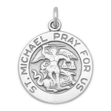 Saint Michael Sterling Silver Round Pendant Necklace