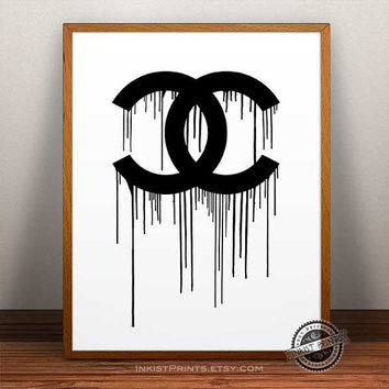 Chanel Poster, Chanel drip art wall, Chanel dripping Print, Coco Chanel, Chanel decor, Chanel art poster, wall, 8x10, 11x14,16x20, 17x22
