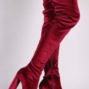Qupid Velvet Pointy Toe Chunky Heeled Over-The-Knee Boots