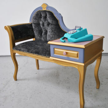 Redesigned Vintage Telephone Seat Table 'Grace'