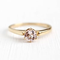 Morganite Engagement Ring - Vintage 10k Yellow Gold .45 CT Pink Gemstone Solitaire Wedding Ring - Size 6 3/4 1950s Mid Century Fine Jewelry