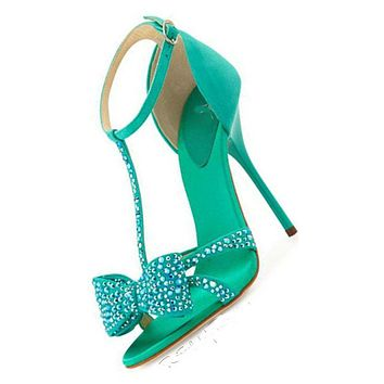 Diamond Bowknot Stiletto Heel Peep-toe Ankle Strap High Heel Sandals
