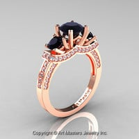 Exclusive French 18K Rose Gold Three Stone Black and White Diamond Engagement Ring Wedding Ring R182-18KRGDBD