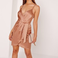 Missguided - Silky Strappy Wrap Cami Dress Nude