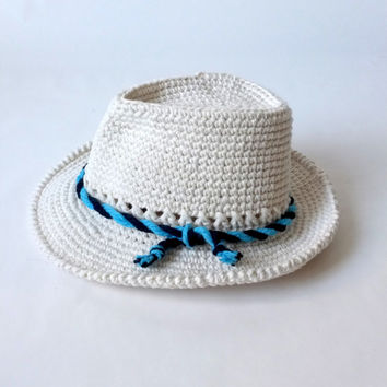 75e61f2677d Crochet Baby Fedora Hat and Bow Tie Set Toddler Summer Panama Cotton Hat  Newborn Photography Baby