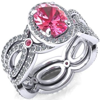 Polaris Oval Pink Sapphire Diamond Halo Full Eternity Pink Sapphire Bezel Diamond Accent Ring
