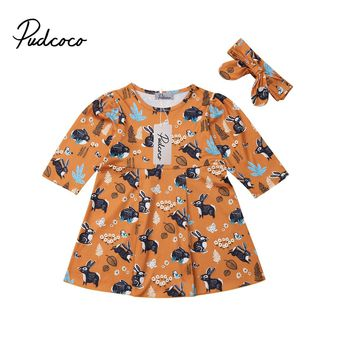 2019 New Cute Bunny Print Easter  Party Tutu Princess Dress for Girl Baby Girl Children Clothes Kid Toddler Clothing 6M-4T