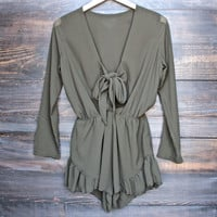 Lioness green with envy ruffle hem romper in khaki green