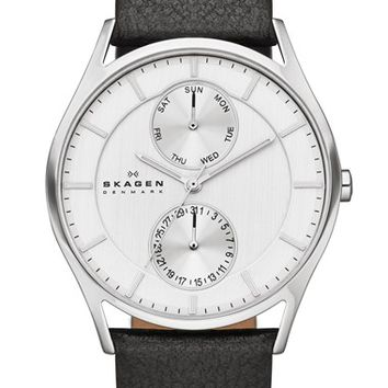 Skagen 'Holst' Multifunction Leather Strap Watch, 40mm