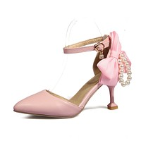 Bowknot Pearls Ankle Strap High Heels Sandals Summer Shoes 9672