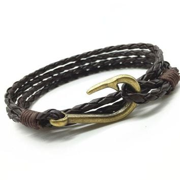 LMFUS4 New Arrival Handmade Weave Cuff Rope PU Leather Vintage Fish Hook Men Bracelets & Bangles for Women Jewelry Accessories