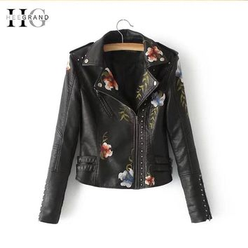 HEEGRAND Slim PU Leather Rivet Jackets Women Autumn New Punk Motorcycle Jacket Embroidery Short Coats Black Outwears WWP206