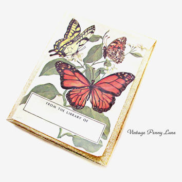 Box of Vintage Bookplates / Book Plates, Butterfly / Butterflies
