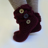 Women's knit slippers, indoor knit slippers,hand knitted slipper boots,wool knit slipper socks,women's homewear,burgundy cable knit slippers