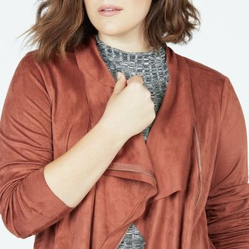 Faux Suede Draped Front Jacket