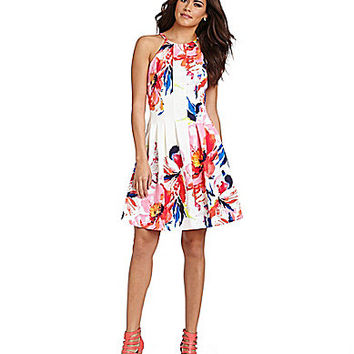 Vince Camuto Burst Floral-Print Halter Fit-and-Flare Dress | Dillards.com