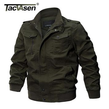 TACVASEN Military Jacket Men Winter Cotton Jacket Coat Army Men's Pilot Jacket Air Force Casual Cargo Jaqueta TD-QZQQ-009