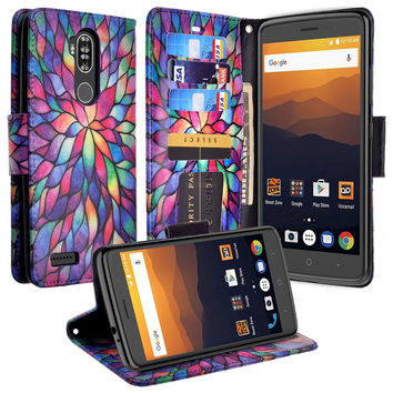 ZTE MAX XL, BLADE 3, ZMAX PRO 2, Wrist Strap Pu Leather Magnetic Fol[Kickstand] Wallet Case[ID & Card Slots] - Rainbow Flower