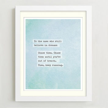 Poetry Print - Dreams Quote - Inspirational Quote