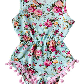 New Baby Girl Pretty summer Romper Newborn Infant Baby Girls Floral Pom Pom Romper Jumpsuit Sunsuit Outfits Clothes Set 6-24M