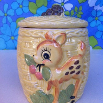 Kitsch, china, Bambi figurine cookie jar!! Cute, retro, deer & cherry biscuit jar!