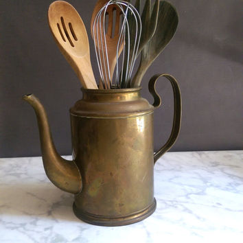 Rustic Brass Kettle/ Brass Coffee Pot/ Primitive Tea Kettle/ Brass Kettle/ Antique Coffee Pot/ Utensil Holder/ Brass Flower Vase