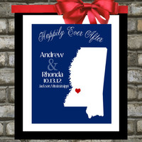 Custom Wedding Gift, Mississippi State 8x10 Print, Personalized Art, Jackson, United States, Engagement, Anniversary gifts for Husband, WIfe