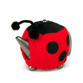 Ladybird tea cosy Spring teapot cozy novelty knit ladybug teapot warmer in bright red with black spots