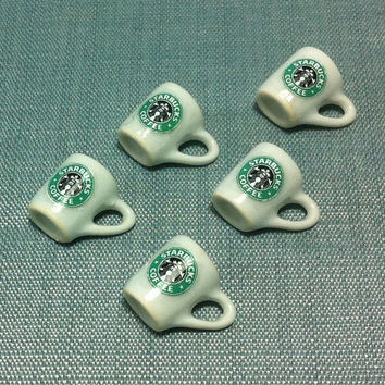 5 Miniature Hot Coffee Starbucks Cups Ceramic Cup Resin Drinks Mugs Mug White Cute Tiny Small Dollhouse Supplies Food Drink Jewelry Beads