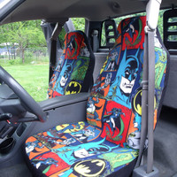 1 Set of Batman Comic Print Custom Made Car Seat Covers and  steering wheel cover.