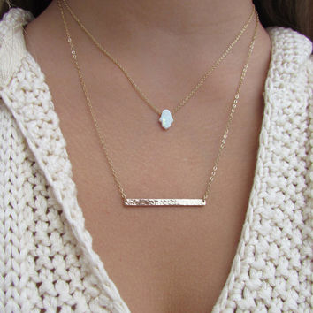 White Hamsa Hand Necklace- Opal or Mother of Pearl in Gold Vermeil