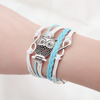 Fashion Jewelry high quality Handmade Women Barcelet Owl decorations Charms White and deep blue Braided  Love Bracelets