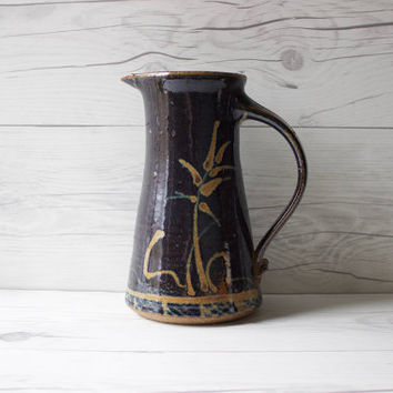 Vintage Ceramic Pottery Stoneware Blue Decorative Pitcher Jug Vase | Fish Lake Pottery