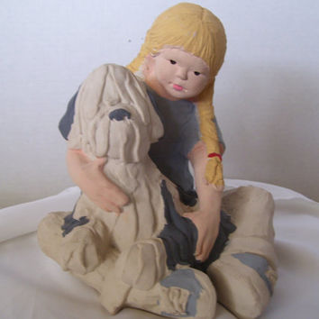 Daze Mortensen Sneaker Kids Austin Productions Sculpture circa 1986 RARE Blonde Girl and her Shaggy Dog Hand Painted Rare Find Retired