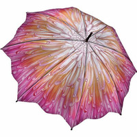 Light Pink & Orange Chrysanthemum Umbrella - Unique Vintage - Bridesmaid & Wedding Dresses