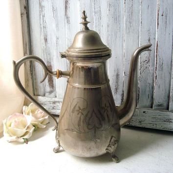Vintage Metal Engraved Tea Pot, Ornate Shabby Chic Silver Plate Tea Pot, Decorative Tea Pot, Wedding Decor, Centerpiece, Cottage Chic