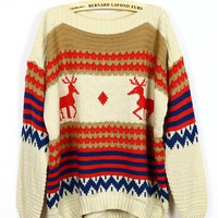 vintage deer classic patterned sweater