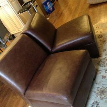 POTTERY BARN TREVOR BROWN LEATHER ACCENT CHAIR