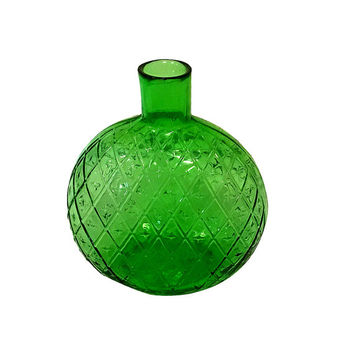 Old Green Glass Diamond Pattern Bottle, Vintage Vase, Country Home Decor