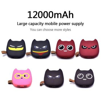 Power Bank 12000mAh Cute Style Emoji Charger Universal Ultra Thin Portable USB External Battery Charger Power Bank for iPhone